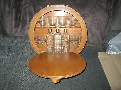 Vintage RARE ? Style Whisky Barrel  Wood Bar / Liquor Cabinet / Wall Mount MST C