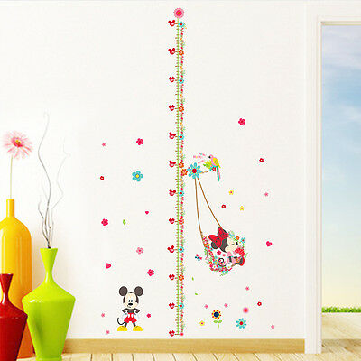 Removable Cute Mickey Height Chart Wall Sticker Vinyl Mural DIY Kids Room Decor