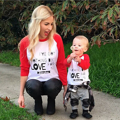 Womens Mens Toddler Baby Kids Family Matching Shirts Couple T-shirt Tops Clothes