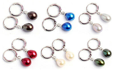 New fashion  ladies mix 7-8mm cultured freshwater pearl Leverback Drop earrings