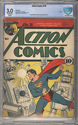 Action Comics # 36  Classic Robot cover !  CBCS 3.0 scarce Golden Age book !
