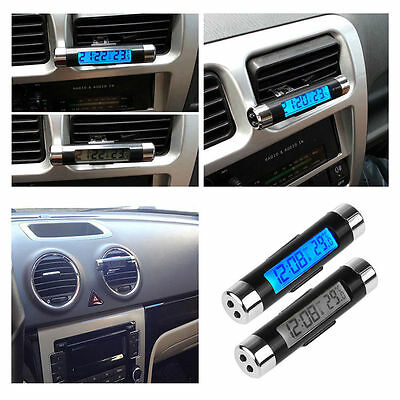 2in1--Auto Interior Air Vent Outlet LCD Backlight Thermometer Time Clock Display
