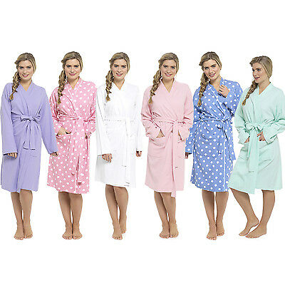Womens/Ladies 100% Cotton Waffle Robe/Dressing Gown/Wrap Size S, M, L