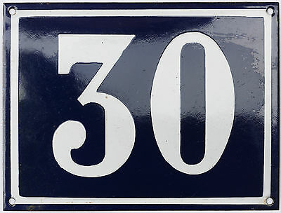 Old blue French house number 30 door gate plate plaque enamel steel metal sign