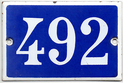 Old French house number 492 door gate plate plaque enamel steel metal sign