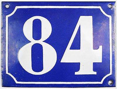 Large old French house number 84 door gate plate plaque enamel steel metal sign
