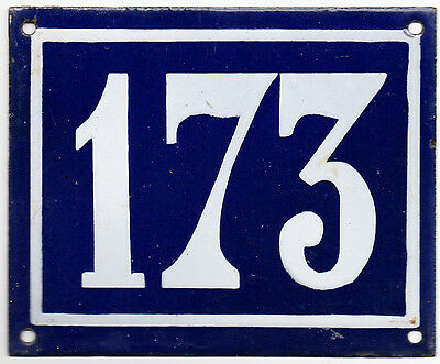 Larger old blue French house number 173 door gate plate plaque enamel steel sign