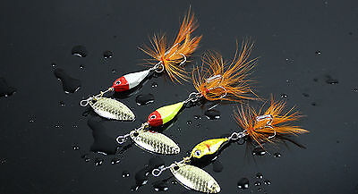 5PCS Fishing Spinner Spoon Minnow Fly Feather Treble Hook Lure baits 12g
