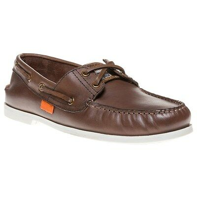 New Mens Superdry Brown Leather Boat Shoes Lace Up