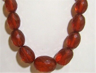 Stunning Art Deco Faceted Natural Honey Cognac Graduated Amber Necklace 42.3 G