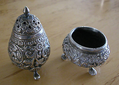 A Fine Lovely Engraved Solid Silver Salt And Pepper Shakers