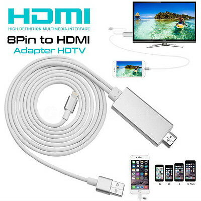 8 Pin Lightning to HDMI HDTV Cable Digital AV Adapter Connector For iPhone Ipad