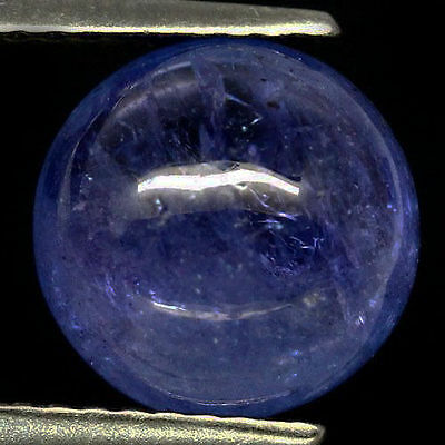 RARE 8mm ROUND CABOCHON-CUT LIGHT PURPLE/BLUE NATURAL TANZANITE GEM (APP £553)