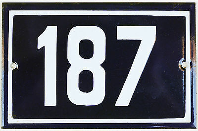 Old blue French house number 187 door gate plate plaque enamel steel metal sign