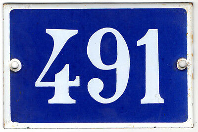 Old French house number 491 door gate plate plaque enamel steel metal sign