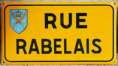 Old French enamel steel street sign plaque Rue Rabelais Saint Etienne Loire VGC