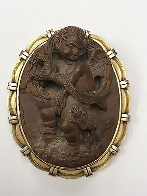 Antique High relief carved lava cameo of Cherub with wreath, dog, dove, 14k gold