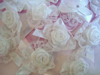 40 White Lace & Satin Ribbon Flower Applique/Wedding Floral Bow/Trim/Craft F50