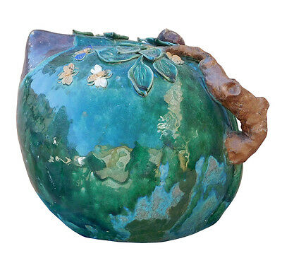 Chinese Oriental Ceramic Turquoise Green Peach Shape Display cs2108
