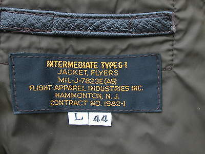 Mens Flyers Bomber Jacket Intermediate Type G-1 Flight Apparel Size L 44 Leather
