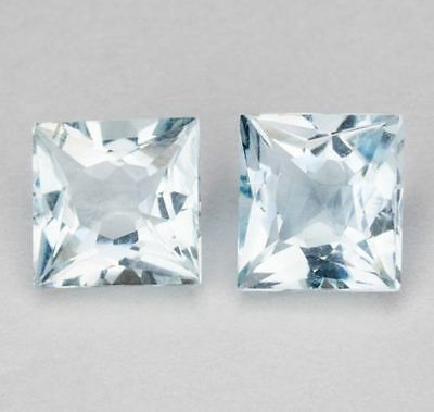 A PAIR OF 5mm SQUARE-FACET ULTRA-LIGHT BLUE NATURAL AFRICAN AQUAMARINE GEMSTONES