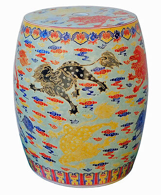 Chinese Oriental Porcelain Foo Dogs Kirin111S Round Small Stool Stand cs2111