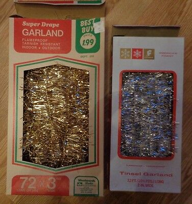 2 boxes vtge Tinsel Garland Woolworth's Woolco & Newberry 1960s Intact gold silv