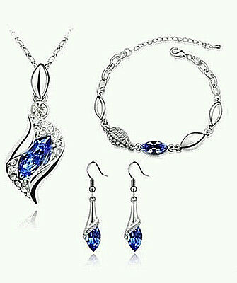 New Women's Royal Blue/silver Rhinestone Crystal Earrings Necklace Bracelet Set