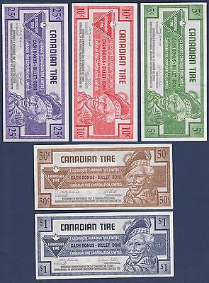 Canadian Tire Money Lot of 5 Notes   5, 10, 25, 50 Cents & $1.00 Coupons.