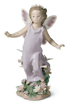 Lladro #6875 Butterfly Wings Bnib Angel Flower Butterfly $215 Off Free Shipping
