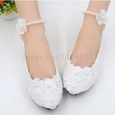 "3"" 4 "" High Heel white lace crystal pearls Wedding bridal shoes pumps size 5-10"