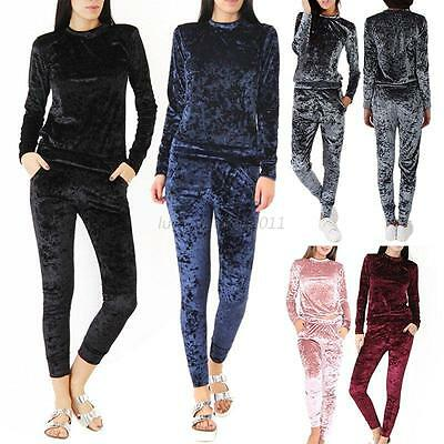 Womens Crushed Velvet Lounge Suit Sweatshirt Pant Womens Lounge Wear Tracksuit