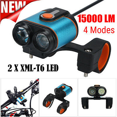 15000LM 2x XM-L T6 LED 4 Mode Bicycle Lamp Bike Light Headlight Cycling Torch UK
