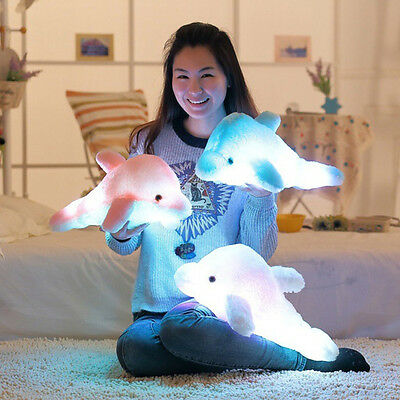 Cute Soft Dolphin Stuffed LED Light Music Plush Doll Toy Throw Pillow Xmas Gift