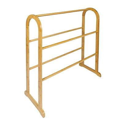 Woodluv Traditional Bamboo Floor Standing Bathroom Towel 5 Rails Rack Stand Hold