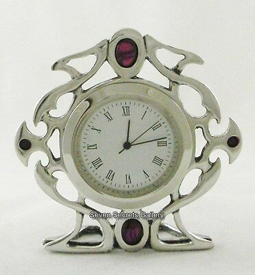 English Pewter Clock Gothic Celtic Design Hand Made In England | 71300 New In