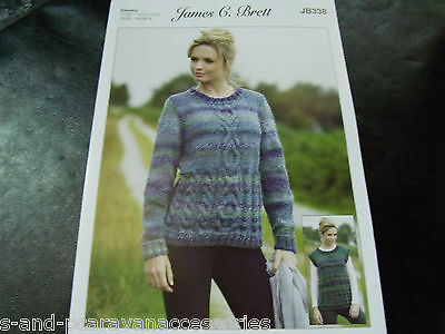 596536603af97 JAMES C BRETT Knitting Pattern JB338 Chunky Sweater and Slipover ...