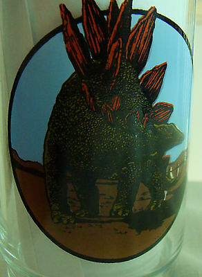 2 Stegosaurus Dinosaur Amoco Oil Gas Company Promo New Large drink Glass Glasses