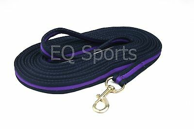 FREE P&P Quality Padded Cushion Lunge Line/ Rein With Handle Navy/Purple!!