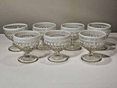7 Anchor Hocking White Opalescent Moonstone Sherbets Nice