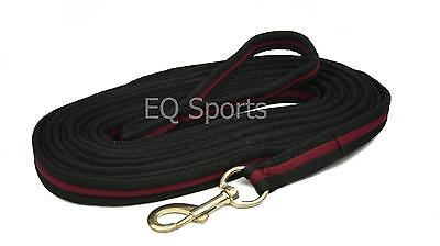 FREE P&P Quality Padded Cushion Lunge Line/ Rein With Handle Black/Burgundy!!