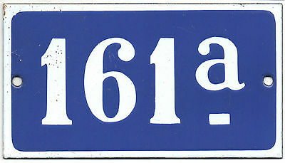 Old blue French house number 161 A door gate plate plaque enamel steel sign