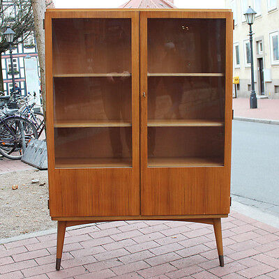vitrinenschrank mid century modern design vitrine 50er 60er jahre b cherschrank eur 349 90. Black Bedroom Furniture Sets. Home Design Ideas