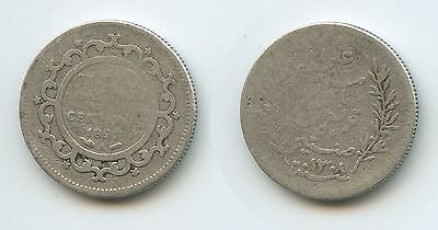 G1383 - Tunesien 50 Centimes AH1308-1891 A KM#223 Silber French Protectorate