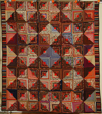 MUSEUM QUALITY Vintage 1870's Wool Challis Log Cabin Antique Quilt ~TINY PIECES!
