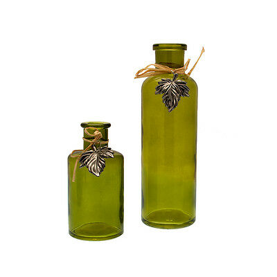 Vintage Style Coloured Bottle/Bud Vase Set & Raffia Leaf Decoration-Green-SWS128