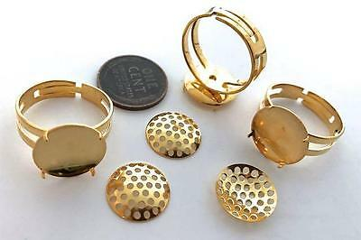 Vintage Adjustable Size Beadable Perforated Brass Disc Rings 3