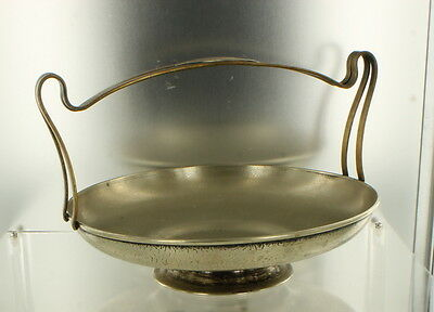Vintage Nickel Silver Plated Center Piece Bowl Hammered Handle Sheffield w/Mono