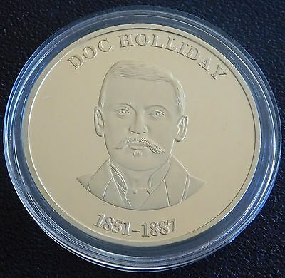 Doc Holliday Collectible Gunfighter Coin - Antique Gold Plated Made in USA