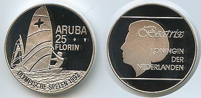 GS066 - Aruba 25 Florin 1992 KM#10 Windsurfing Olympic Games 1992 Silber PROOF
